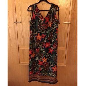 Vintage Tropical print dress - Size 10!